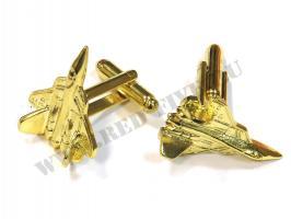 Запонки Су-57 золотистые