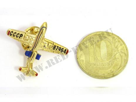 Значок Як-40 золотистый